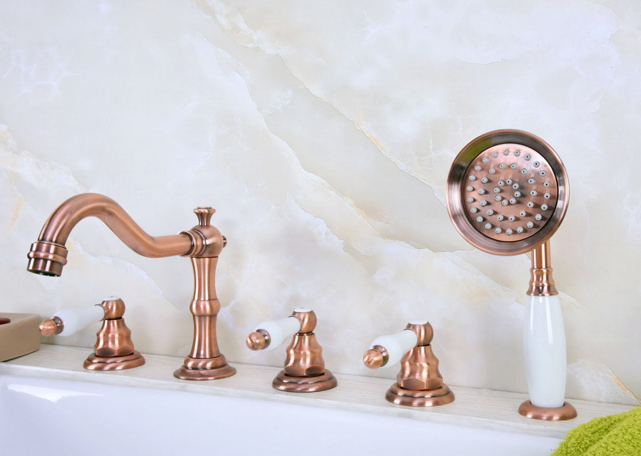 Antique Red Copper Brass Deck 5 Holes Bathtub Mixer Faucet Handheld Shower Widespread Bathroom Faucet Set Basin Water Tap atf227Antique Red Copper Brass Deck 5 Holes Bathtub Mixer Faucet Handheld Shower Widespread Bathroom Faucet Set Basin Water Tap atf227