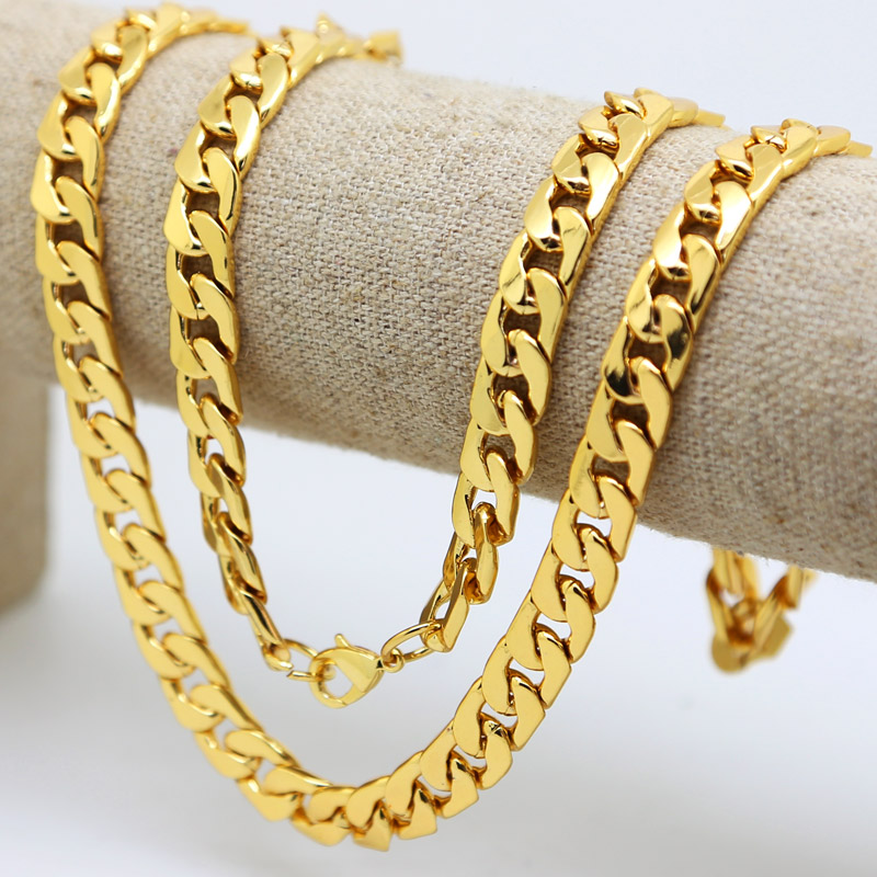 10mm 30inch Real 24K Yellow gold color Solid Cuban Curb Chain Mens