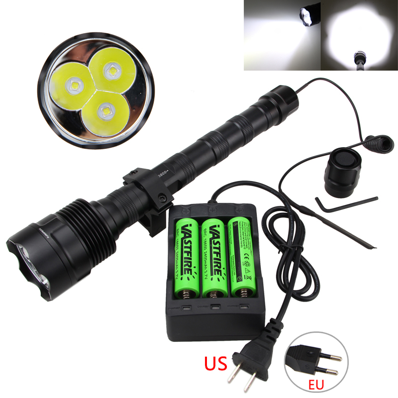 Torche tactique en aluminium 3800lm TR-3L2 lampe de poche LED avec contrôleur de pressostat + batterie Rechargeable 3 pièces + chargeur