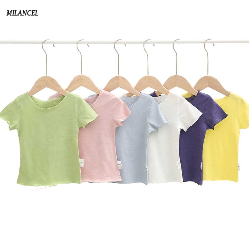 Milancel Girls Tee Tshirts Short-Sleeve Children Clothes Baby Summer Solid Base-Tee