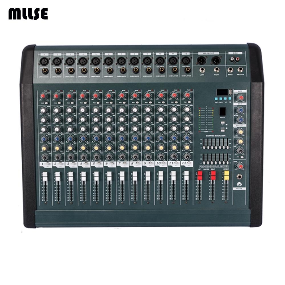 new mx1208d professional audio dj mixer 12 channels mezcladora de dj power amplifier 350wx2 in. Black Bedroom Furniture Sets. Home Design Ideas