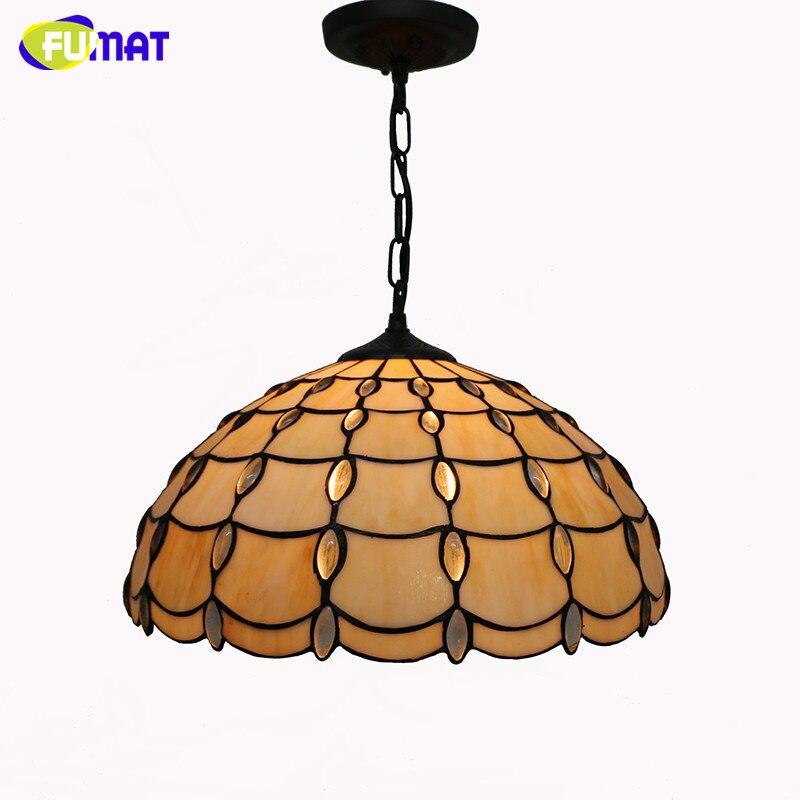 Tiffany Pendant Light Brief Mediterranean Style Restaurant Living Room Kitchen Suspension Lightings Stained Glass Lights Lamp