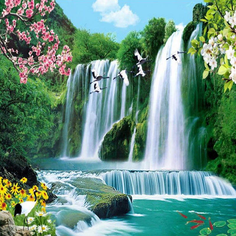 Embroidery Scenery Daimond-Painting Waterfall Rhinestone Landscape-Round Full Diy 3D