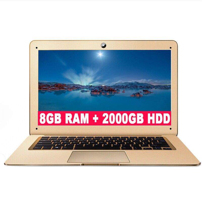 ZEUSLAP 8GB Ram+2000GB HDD Intel Quad Core CPU Windows 10 System 14inch 1920*1080P FHD IPS Screen Laptop Notebook Computer цена