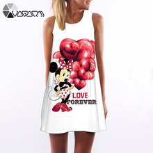 Women Summer Dress Fashion Minnie Mickey Mouse Sleeeveless White Loose Casual 3D Print Party Club  T-shirt Dresses