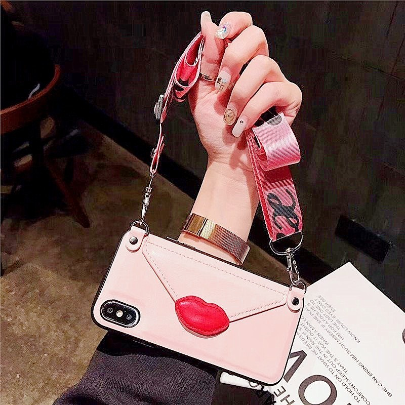 Wallet card leather shoulder strap phone case For iPhone Xs MAX case Xr X 7 8 6 6splus Red lips Envelope Card package back cover in Fitted Cases from Cellphones Telecommunications