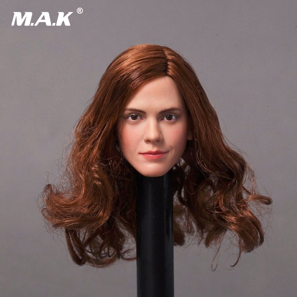 In Stock 1/6 Emma Watson Girl Head Sculpt Long Curly Rooted Hair Headplay for Female PH Body Figure dstoys d 005 1 6 scale female head sculpt beauty girl headplay long curly hair for 12 ht phicen action figure