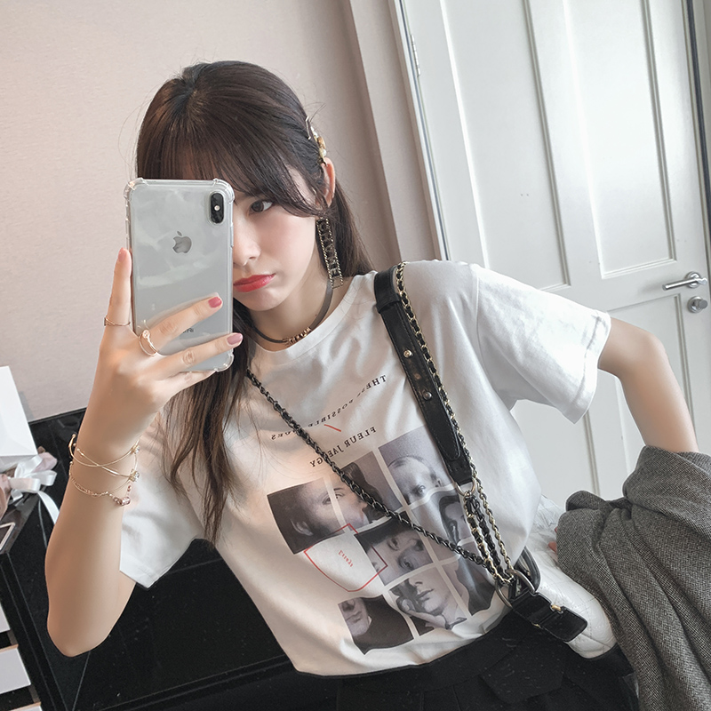 Mishow 2019 Summer Short Sleeve Printed Women T-shirt Female Casual Tee Tops  MX19A3396