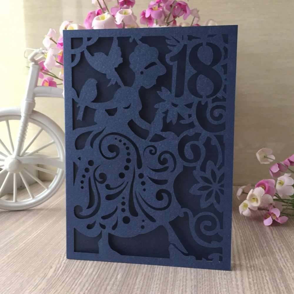 20pcs Beautiful Girl Pearl Paper Invitation Cards 18th Birthday Wedding Invitations