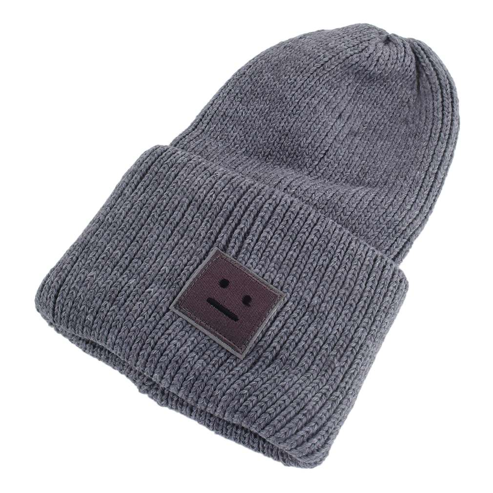 NEW Arrival Korean Style Beanies Cap Brand Thick Female Cap Wool Cute Smile Face Lady Winter Spring Autumn Knitted Hat 2015 new brand female elegent style 100
