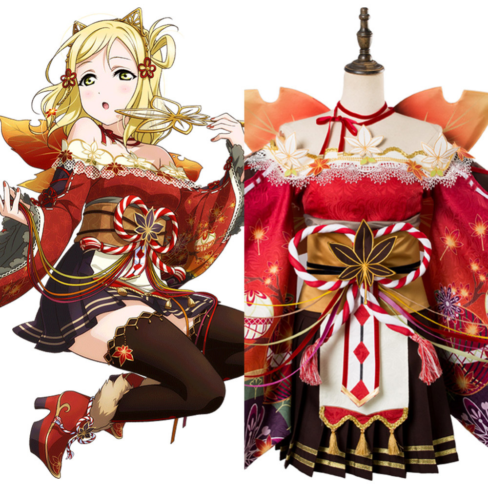Lovelive sunshine Aqours Red Maple leafs Mari Ohara cosplay costume Kimono dress Halloween Carnival Amine outfits cos nice-wing