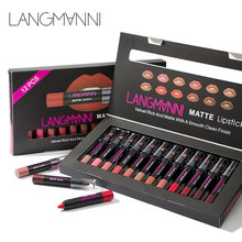 Maquiage di marca 12 pz/lotto lip kit Rossetto opaco Impermeabile Nutriente Velluto lip bastone Rosso Tinta Nude batom trucco set(China)