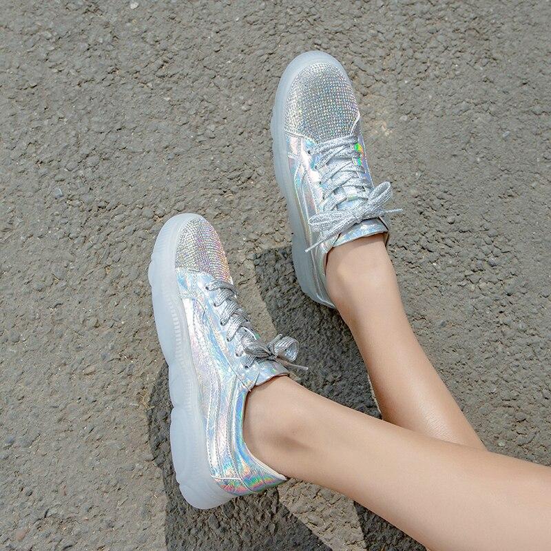 Oro Bombas Tamaño Bajo Oro Casual Damas Zapato 8 Tacón De Eshtonshero plata Plata Encaje Zapatos Mujer Plataforma 3 Cuero Bling Clásico Vaca Ra7qw45