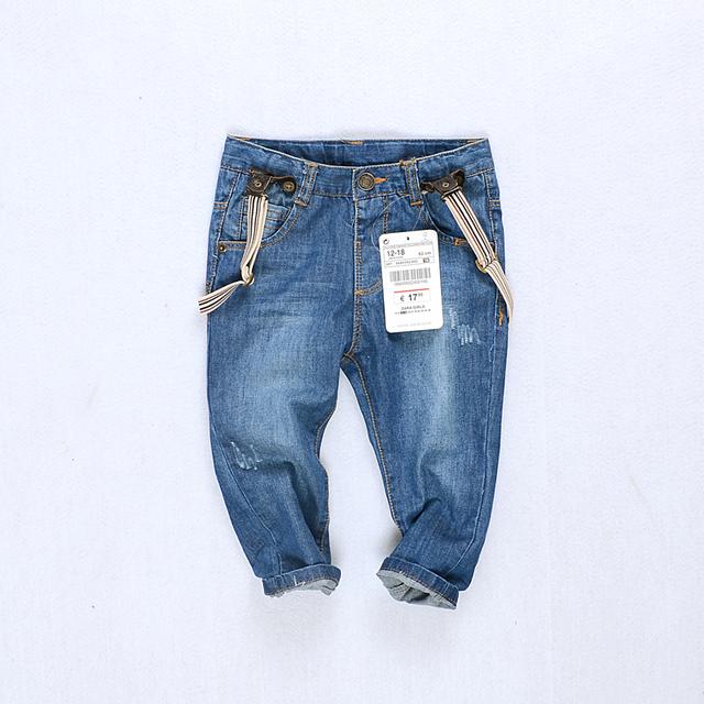 Alta qualidade moda bebê meninos meninas crianças calças de brim calças de cowboy do menino suspender calças crianças macacão meninas tirantes