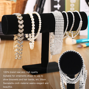 Elegant Velvet Watch T-bar Rack Holder Display Jewelry Black Bracelet Chain Bangle Stand Holder