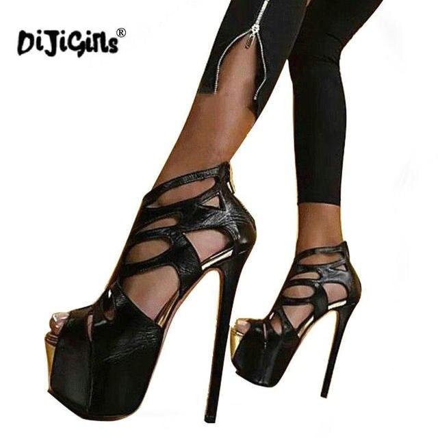 acd6ca867571 Dijigirls New Sexy Pumps Peep Toe 16CM High Platform Sandals Boots Fashion  PU Leather Shoes Nightclubs Black Size 34-40
