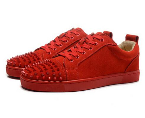 SHOOEGLE Fashion Luxury Spikes Men Shoes Rivets Casual Suede Platform Sneakers Mens Low Top Lace up High Quality Motorcycle Shoe - 6