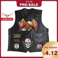 New Motorcycle Jacket Genuine Leather Vest Mens Punk Retro Classic Style Motorcycle Jacket Biker Club Casual Vest Moto Clothing