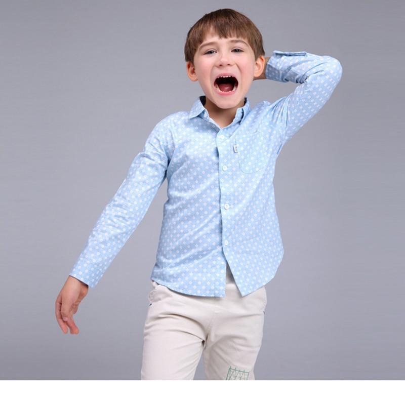 Niños impreso floral camisa primavera 2016 niños tops ropa de moda simple  algodón azul manga larga blusa Niños tamaño 90 -130 cm fdab3b0b7eb8a
