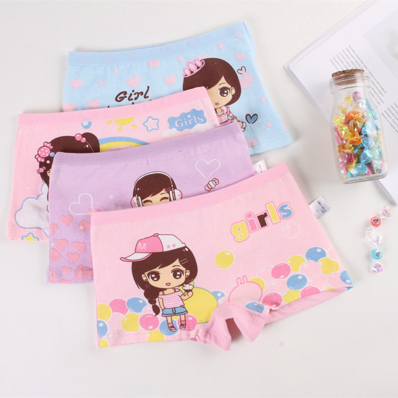 4Pcs/lot 2018 New Children Cotton Panties girls cute cartoon printed baby girls kids Underwear Boxer Briefs Panties 1