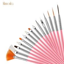15pcs Pink Nail Art Brush Liner Dotting Pen Plastic Nail Polishing Painting Carving Brushes Kit UV Gel Manicure Tools Set