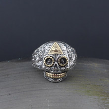 MetJakt Classic Skull and Eye of God Punk Rings Solid 925 Sterling Silver Open Ring for Biker Cool Men Unique Jewelry(China)