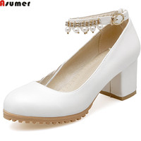 Asumer Fashion New Arrival Women Pumps Round Toe Buckle Ladies Boots Square Heel Crystal White Pink