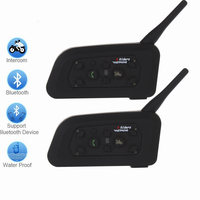 New 2 X1200m Bluetooth Intercom Headset 6 Riders Handsfree V6 Waterproof Motorcycle Interphone Support Stereo Music