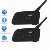 New 2 X1200m Bluetooth Intercom Headset 6 Riders Handsfree V6 Waterproof Motorcycle Interphone Support Stereo Music