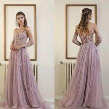 050a428370a Vintage Elie Saab lilas robes de bal tenue de soirée balayage Train dos nu dentelle  Appliques perlée robe de soirée pas cher ves.