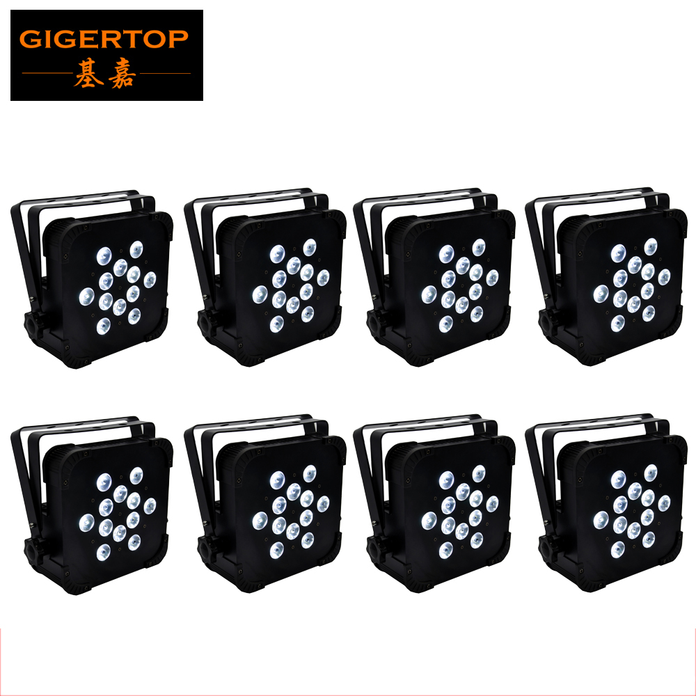 Discount Price 8 Pack <font><b>12x12W</b></font> RGBW 150W <font><b>LED</b></font> Flat <font><b>Par</b></font> Light DMX 512 Control Party Disco Xmas Bar DJ Stage Lighting Silence Working image