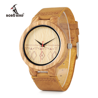 BOBO BIRD WC19 Mens Watches Zebra Wooden Watches Half Patterns Dial Face Famous Brand Quartz Watch For Men Accept OEM