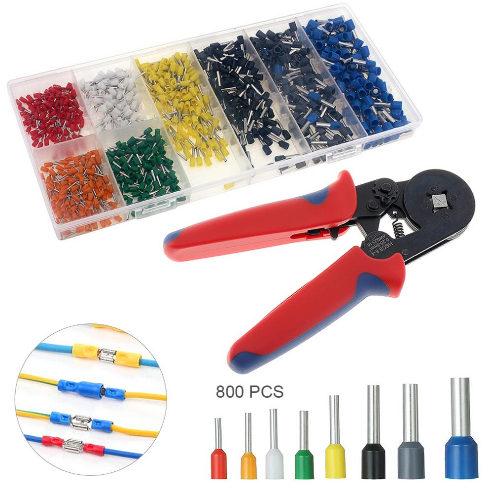 Hot Mini Adjustable Crimping Tool Hands Pliers + 800pcs Insulated End Crimp Terminal Electrical Wire Connector