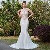 Dressv Ivory Mermaid Long Wedding Dress High Neck Court Train Sleeves Hollow Bridal Gown Outdoor Garden