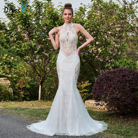 Dressv Ivory Mermaid Long Wedding Dress High Neck Court Train Sleeves Hollow Bridal Gown Outdoor Garden