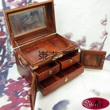 Деревянный дом из красного дерева красного дерева коробка равнине зеркало равнине зеркало коробка ювелирных изделий ремесла украшения подарок
