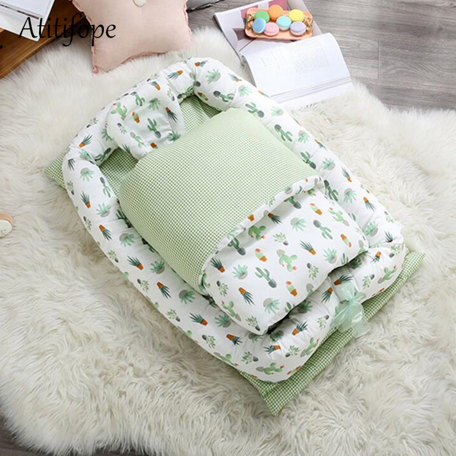90x55x15cm Baby Cotton Foldable Bed Removable Crib Portable  Bionic Folding Bed Movable Cleaning Baby Bed