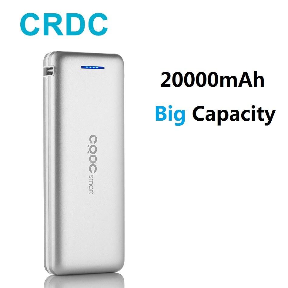 CRDC Sottile Accumulatori e caricabatterie di riserva 20000 mah Dual USB 18650 Batteria Esterna Per il iphone X Xiao mi mi caricatore Del Telefono Portatile Universale poverbank