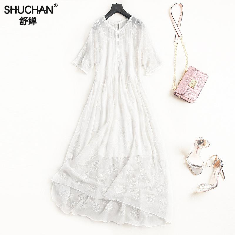 SHUCHAN White Dress Women Summer 2018 Natural Silk Slimming Clothes For Women Beautiful Long Dresses Hollow Out V-neck 2548