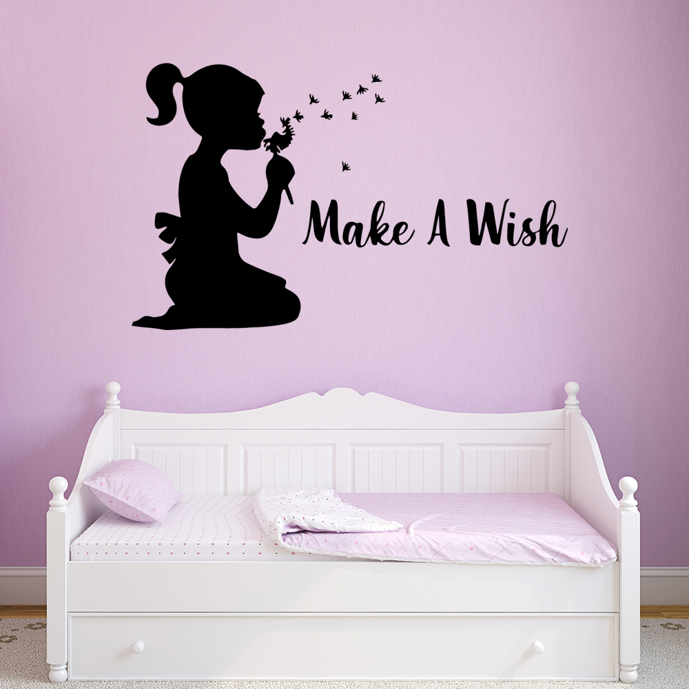 Hot Make A Wish Wall Sticker Pvc Wall Stickers Wall Art Wall Paper For Kids Rooms Diy Home Decoration Home Party Decor Wallpaper in Wall Stickers from Home Garden