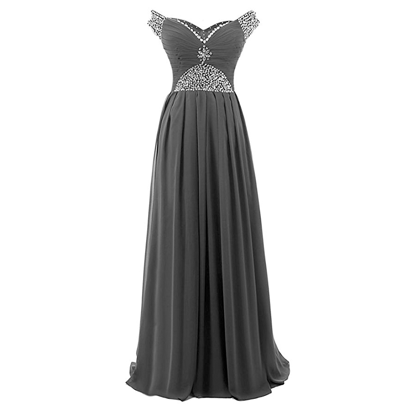 Off The Shoulder Royal Blue Gray Chiffon   Prom     Dresses   Diamonds Beading Long Elegant Shining Fashionable Formal   Prom     Dresses