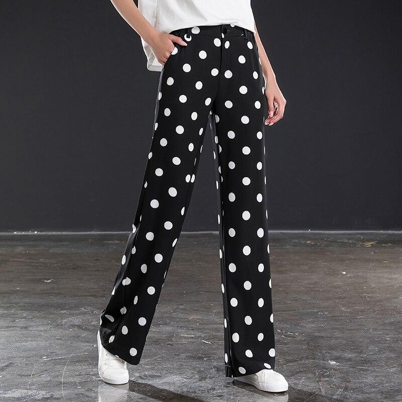 Black and white polka dot   wide     leg     pants   female high waist drape summer new casual   pants   loose chiffon straight   pants   large size