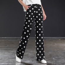 Black and white polka dot wide leg pants female high waist drape summer new casual pants loose chiffon straight pants large size цена