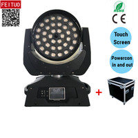 Free shipping flycase 36x18W led moving head dmx rgbwa uv moving head 18W Lyre led wash moving head zoom lighting