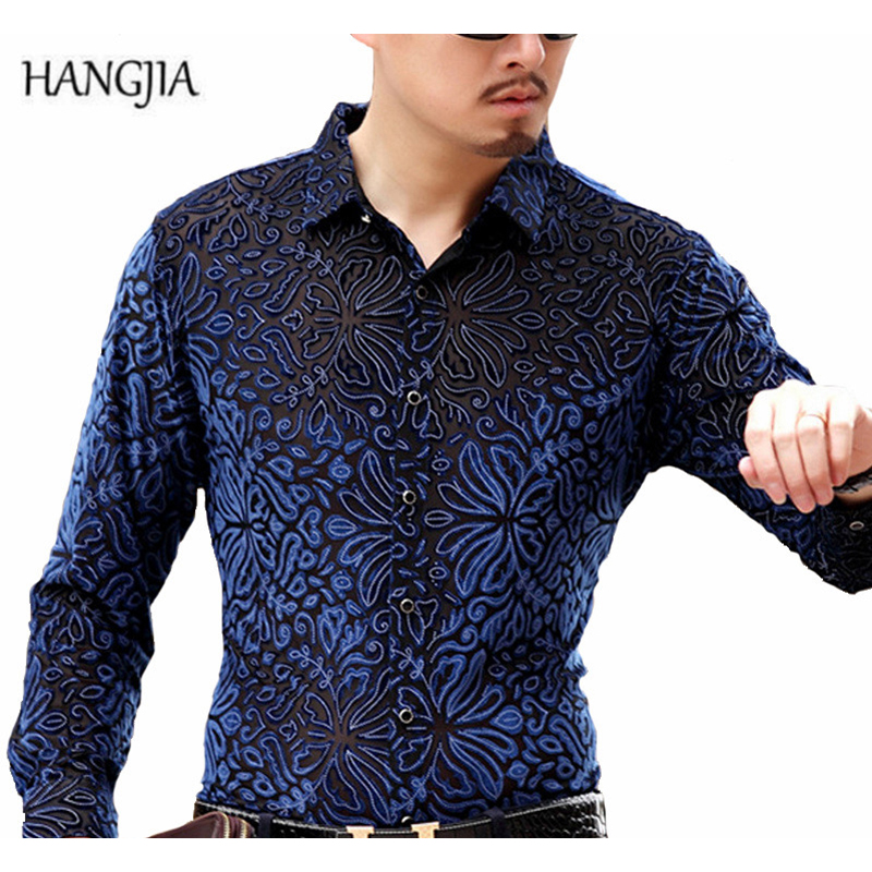 [HANGJIA] Mens High-grade Gold Velvet Slim Long-Sleeved ShirtS 2017 New Black/Blue Business Casual Hollow Out Floral Shirt M-4XL ...