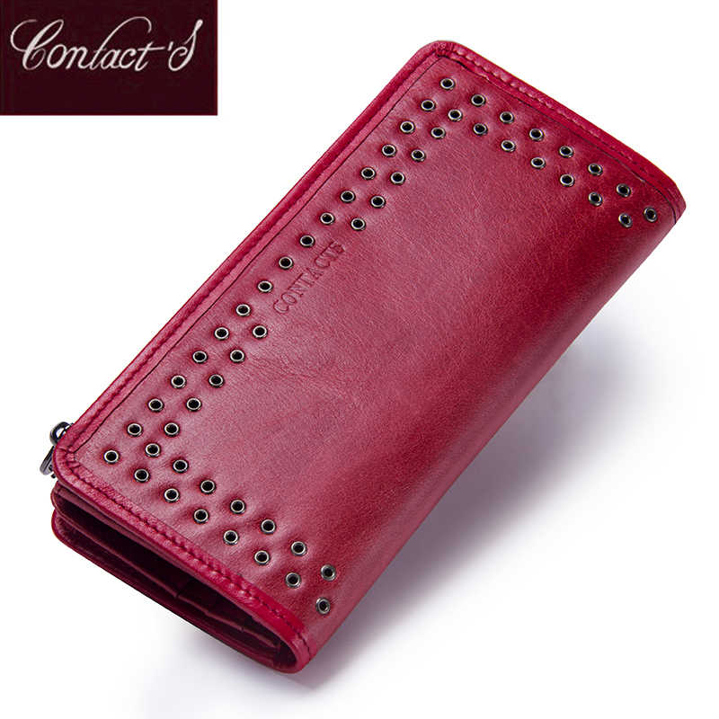 Contact's Luxury Brand Women Wallets Genuine Leather 2019 New Long Design Ladies Purse Clutch Bag Card Cell Phone Holder Wallet