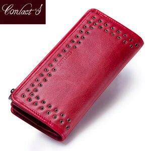 Image 1 - محفظة من الجلد الطبيعي للنساء من علامة تجارية فاخرة موديل عام 2020 مع تصميم جديد وطويل ، محفظة بحامل بطاقات للهاتف الخلوي