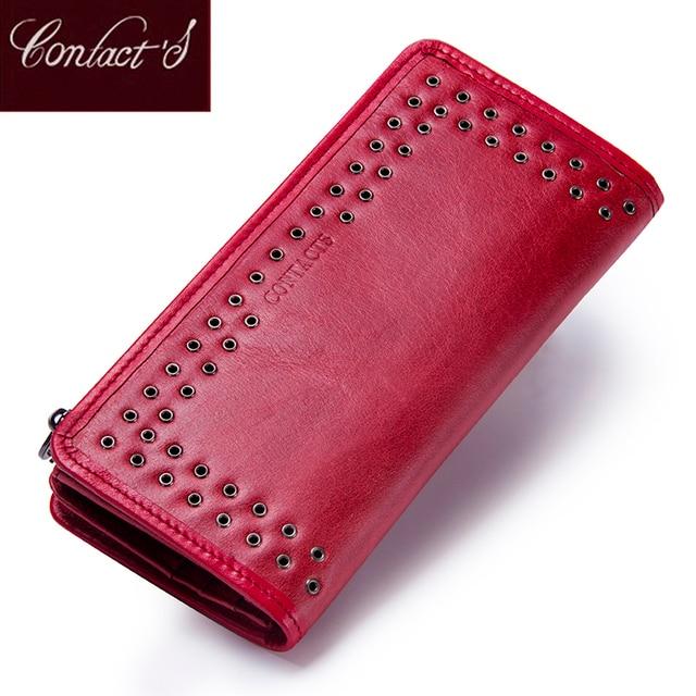 محفظة من الجلد الطبيعي للنساء من علامة تجارية فاخرة موديل عام 2020 مع تصميم جديد وطويل ، محفظة بحامل بطاقات للهاتف الخلوي