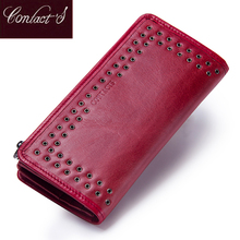 Contacts Luxury Brand Women Wallets Genuine Leather 2020 New Long Design Ladies Purse Clutch Bag Card Cell Phone Holder Wallet