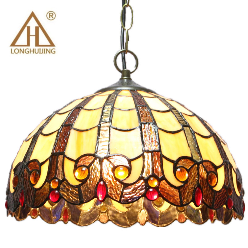 Us 98 23 40 Off Tiffany Pendant Lights Flower Led Stained Glass Pendant Lamp Suspension Luminaire Color Glass Living Room Hang Lamp In Pendant